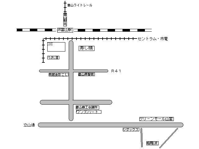 富山駅近辺の地図